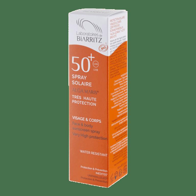 LABORATOIRE de BIARRITZ BIO : 50+ spray solaire ALGA MARIS très haute protection visage & corps
